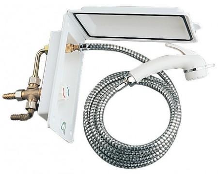 Boîtier douchette extérieure blanche encastrable, interrupteur, sans serrure