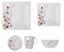 Set vaisselle carré 20 pièces Flora